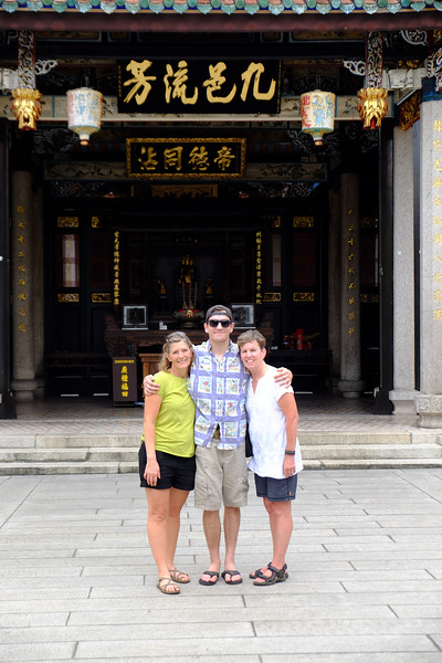 Gavin, Shannon and Sally at a local temple