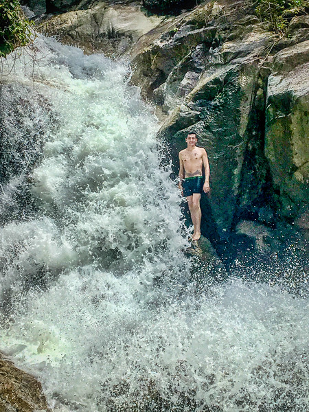 Cooling off at Titi Kerawang waterfall
