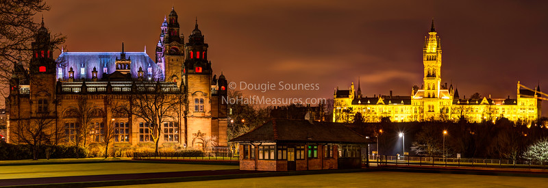 'West End Landmarks' <br /> 24 December 2012<br /> - looking over the Kelvingrove Lawn Bowls Centre towards the Art Gallery / Museum and Glasgow University (both built at the end of the 19th century).<br /> Kelvingrove, Glasgow, Scotland