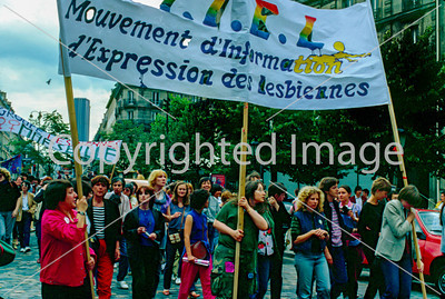 "Paris, France, French LGBT Gay Pride March in the 1980's, 1982  ""It is from 1971 that homosexual movement is visible in France . In March , gays , women and men , interrupt the recording of the show on RTL Menie Grégoire , dedicated to ""Homosexuality , this painful problem."" FHAR ( Homosexual Front of Revolutionary Action ) is created in the process. In May , the gay parade to invite trade unions , it will be the germ of future Gay Pride parades . Until 1978 , gays participate in the parade each year on May 1. June 25, 1977 held in Paris the first independent gay event, the Place de la Republique to the Place des Fêtes , in response to the call of Anita Bryant, ""kill a homosexual for Christ's sake ."" There again demonstrations in 1979 and 1980 at the call of CUARH ( Emergency Committee Anti- Homosexual Repression ) against "" anti- gay discrimination ."" Again, April 4, 1981 , 10,000 people demonstrated to call the CUARH , and the candidate in the presidential election François Mitterrand undertakes few days after the event, to decriminalize homosexuality . President François Mitterrand honor this commitment the following year. Since then, a march is held every year in June in Paris .  ""It is from 1971 that homosexual movement is visible in France . In March , gays , women and men , interrupt the recording of the show on RTL Menie Grégoire , dedicated to ""Homosexuality , this painful problem."" FHAR ( Homosexual Front of Revolutionary Action ) is created in the process. In May , the gay parade to invite trade unions , it will be the germ of future Gay Pride parades . Until 1978 , gays participate in the parade each year on May 1. June 25, 1977 held in Paris the first independent gay event, the Place de la Republique to the Place des Fêtes , in response to the call of Anita Bryant, ""kill a homosexual for Christ's sake ."" There again demonstrations in 1979 and 1980 at the call of CUARH ( Emergency Committee Anti- Homosexual Repression ) against "" anti- gay discrimination ."" Again, April 4, 1981 , 10,000 people demonstrated to call the CUARH , and the candidate in the presidential election François Mitterrand undertakes few days after the event, to decriminalize homosexuality . President François Mitterrand honor this commitment the following year. Since then, a march is held every year in June in Paris ."