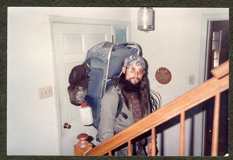 Wearing the North Face BackMagic pack for a home visit in 1984
