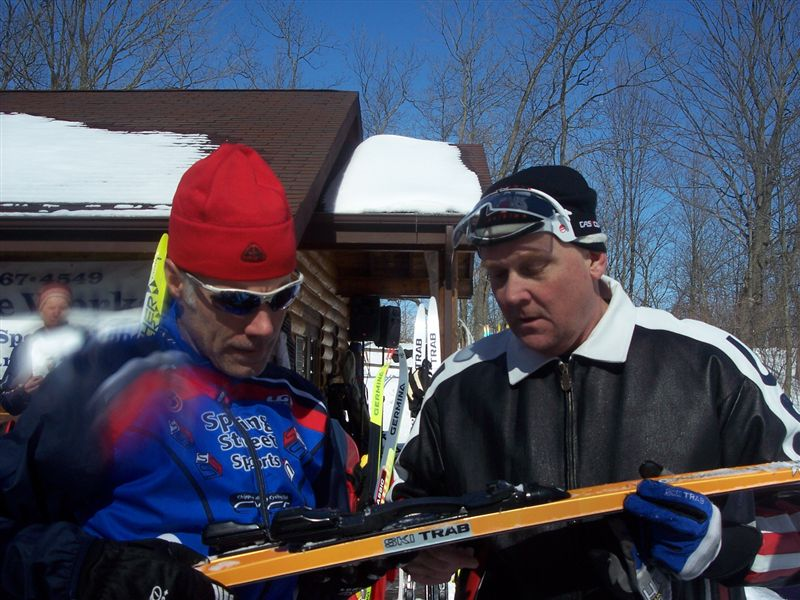 Chris Halverson from the Madnorski Ski Club/Madison (left) with Joe Gollinger