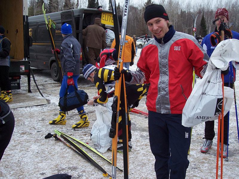 Burgess Norgard, the first skier to ski the Birkie with the Clap binding and boot