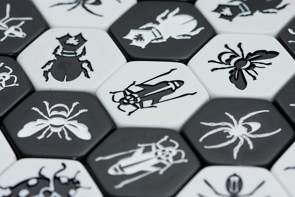 Pieces from the game Hive (Carbon edition)