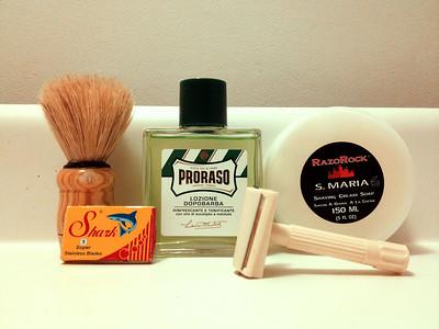 Horse hair brush, German NOS Bakelite Slant, RazoRock S. Maria, Proraso