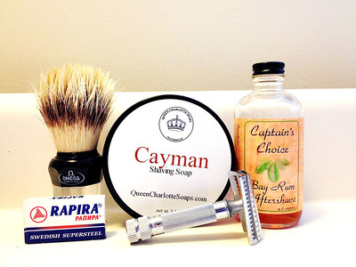 Bay Rum: Omega 31064 Boar, Cayman Shave Soap by Queen Charlotte Soaps, Captain's Choice Bay Rum Aftershave, Merkur 37c slant-bar, new Rapira blade