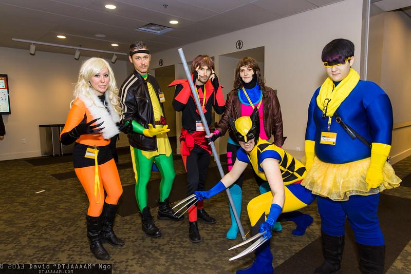Sabretooth, Rogue, Phoenix, Gambit, Wolverine, and Cyclops