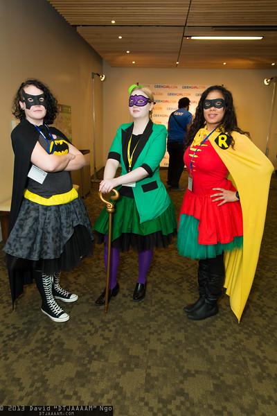 Batgirl, Riddler, and Robin