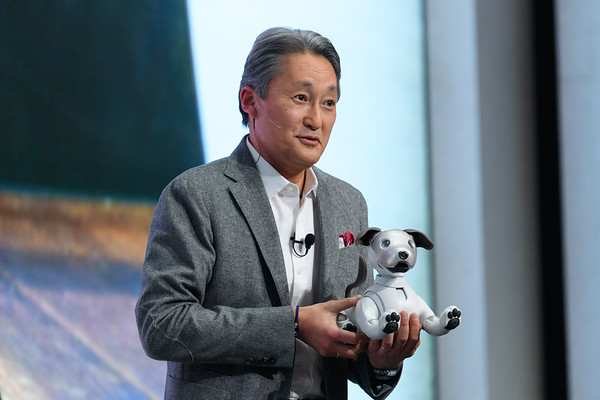 Kaz Hirai with AIBO robot dog - Sony press conference - CES 2018