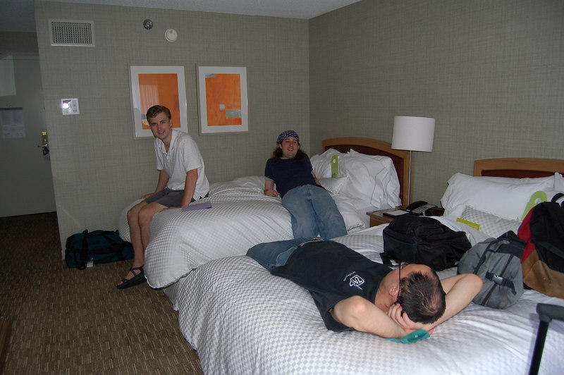 drove down from chicago to indianapolis, we finally arrived in the expensive hotel room! tim and mike in back, ghen-ki in front