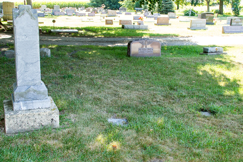Bridget's Grave is the on the far right in line with the monument
