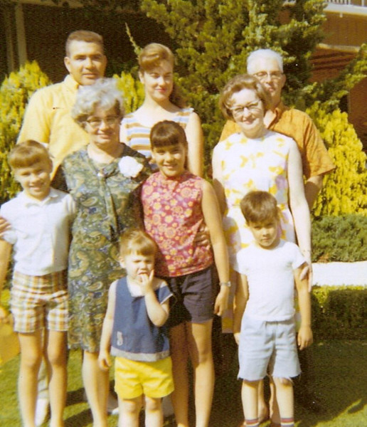 May 1969 - Nick & Beth, Art & Alice, Catherine Voas with Corrine, Dawn and Nick; Kelly in front