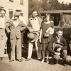 1929 - Holly, Art, Bob Caudle, Catherine, Fred Caudle, Howard Vollenweider - in front of Essex