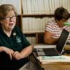 Bonnie Sweatman speaks about the Fitchburg Public Library's genealogy program on Thursday, July 6, 2017. SENTINEL & ENTERPRISE / Ashley Green