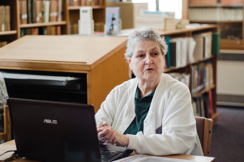 . Bonnie Bohnet speaks about the Fitchburg Public Library\'s genealogy program on Thursday, July 6, 2017. SENTINEL & ENTERPRISE / Ashley Green