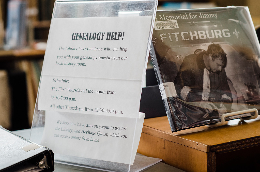 . Fitchburg Public Library offers genealogy help from 12:30 - 7:00 on the first Thursday of the month, and 12:30- 4:00 all other Thursdays. SENTINEL & ENTERPRISE / Ashley Green
