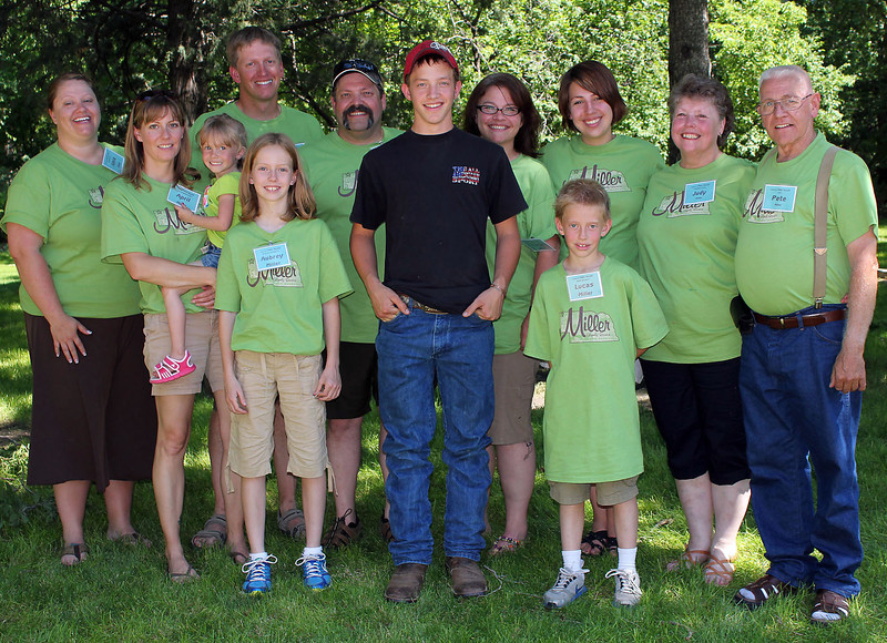 Some of the families descended from Fred and Charlotte Miller.  In back are Amie Miller, Chad Miller, Paul Miller, Chris Sperling Miller, Brette Schmidlkofer, Judy Newman Miller, and Pete Miller.  In front are April Holmes Miller (holding Dylan Miller), Aubrey Miller, Austin Miller, and Lucas Miller.