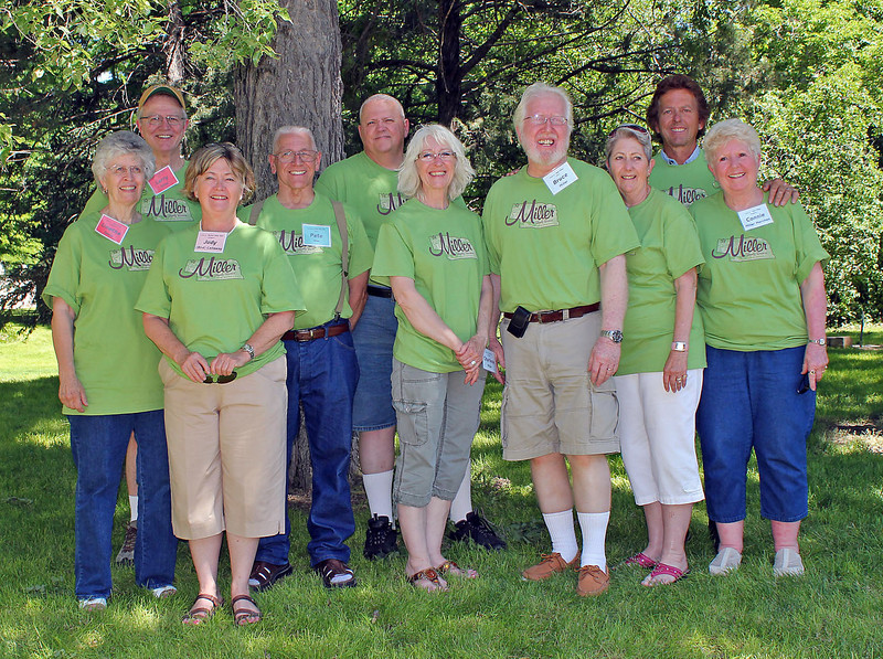These are ten of the Pete and Dora Miller grandchildren who were able to attend the Miller Family Reunion in Chadron, Nebraska, on June 26, 2011.<br /> <br /> Left-to-right are:  Linetha Davis Miller, Larry Miller, Judy Bird Callaway, Pete Miller, Mike Miller, Charlene Miller, Bruce Miller, Jeanette Miller Gleed, Jerry Miller, and Connie Miller Merchen.