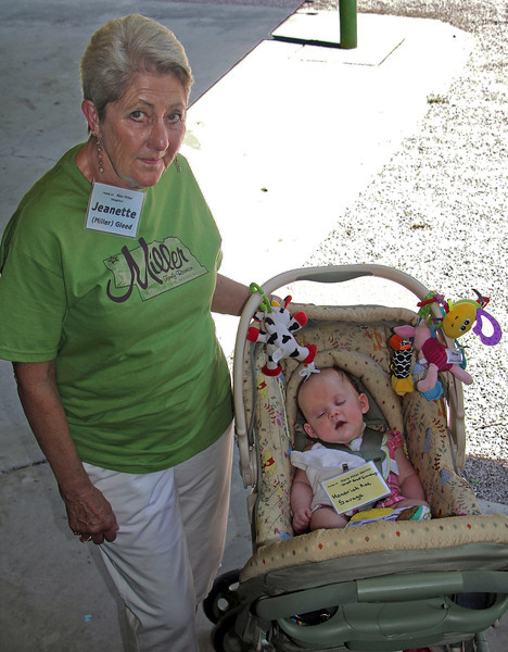 "The youngest and oldest Millers attending the 2011 reunion.  ""Senior"" honors went to cousin Jeanette Miller Gleed.  The sleepyhead in the stroller is Honoriah Rae Savage, grandson of Shawn and Dori Savage.  Dori is a granddaughter of Marie Miller Derrick.  <br /> <br /> So.....if we have this straight, Honoriah Rae would be the great, great, great, granddaughter of Dora Eckerdt Miller.  Right?"