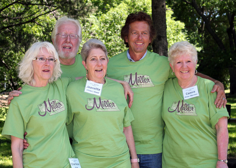 All five children of Alex and Mildred Miller were able to attend the reunion.  Left-to-right, they are Charlene Miller, Bruce Miller, Jeanette Miller Gleed, Jerry Miller, and Connie Miller Merchen.