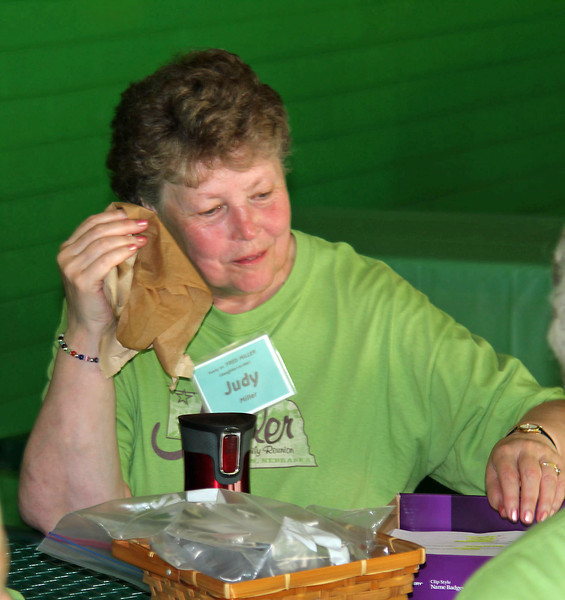 Judy Miller of Metaline Falls, Washington, enjoys a brief respite during the Miller Family Reunion.