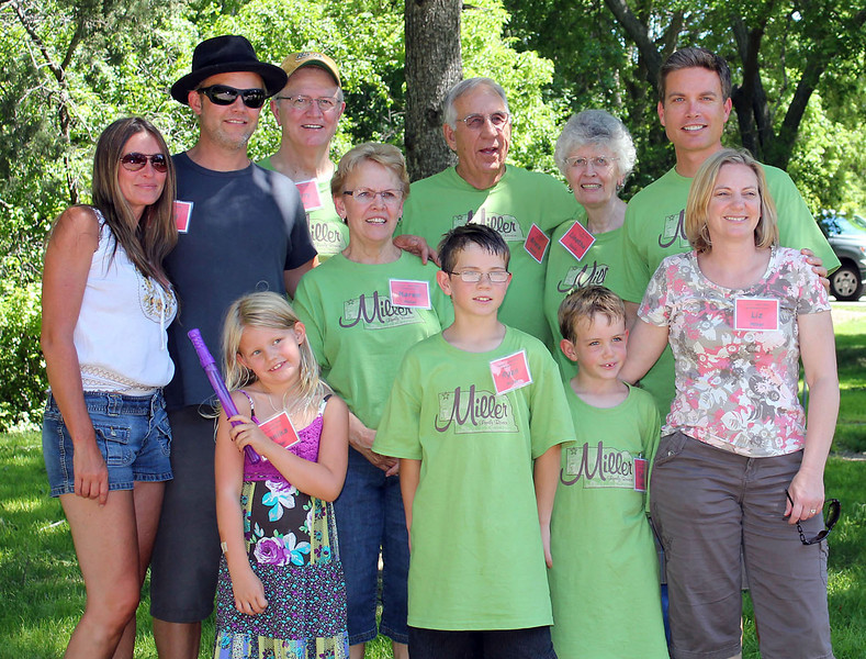 These are some of the descendant families of John and Lettie Miller.  Behind (l-r) are Angela Miller, Brad Miller, Larry Miller, Karen Galey Miller, Bruce Davis, Linetha Miller Davis, and Mike Miller.  In front are:  Annika Miller,  Ryan Miller, Colin Miller, and Liz Grossman Miller.