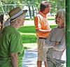 Linetha Miller Davis (left) visits with Charlene  Miller.