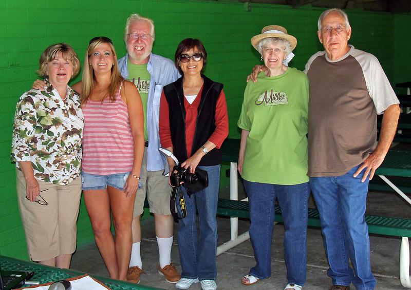Left-to-right are Judy Bird Callaway, Lori Callaway, Bruce Miller, Hu Sheng Miller, Linetha Miller Davis, and Bruce Miller in the Chris Tscharner Shelter at Wilson Park in Chadron, Nebraska.