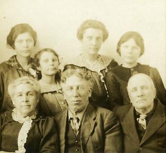Top - L-R Inez Long - (Hazel Karner's Sister) Stella Ripp, Lola Schanou, Hazel Karner, Mary Durkee, Oliver Durkee, Grandpa Durkee - Approx 1915