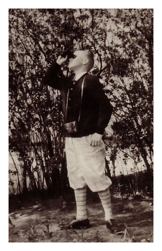 1928 Morris Miller modeling as a bird watcher. Have no idea what this photo was about.