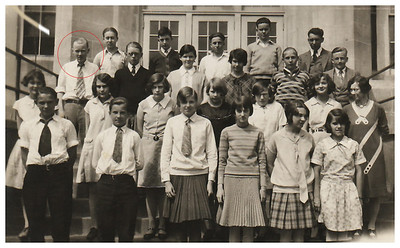 1929 May 17 Morris Miller shown with Miss Stonebraker's  Home Room #210, North Junior High, Sioux City, IA.