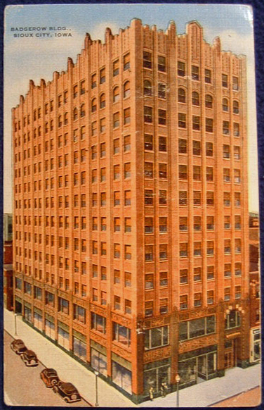 1933 This is a postcard of the Badgerow Bldg. in Sioux CIty, IA where Morris Miller worked for over 30 years as the Vice President, Secretary and Treasure of the Provident Loan Association. (From 1933 to 1969.) The building was built in 1933 in the Art Deco style and is now an historic landmark.