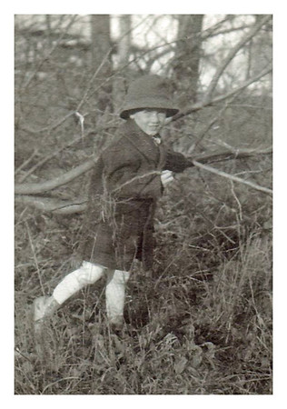 1917  Morris Miller exploring the brush behind his home at 3738 Jackson Blvd. in Sioux City, IA.