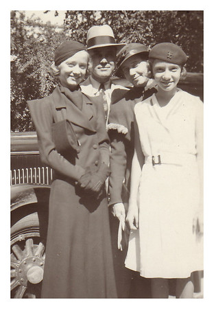 1933 Marianne, Ray, Emma and Eloise Morris Miller, Sioux City, IA. Headed out to dinner at Bishops Cafeteria.