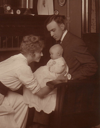 1913 Emma Whitmer Miller and husband, Ray, with new son, Morris. Most likely taken at Emma's mother's home at that time at 3738 Jackson Blvd., Sioux City, IA.