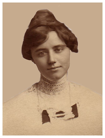 1913 May 8 Emma Whitmer Miller (Geggy) was 26 years old and 4 months pregnant with Morrie when this portrait was taken.