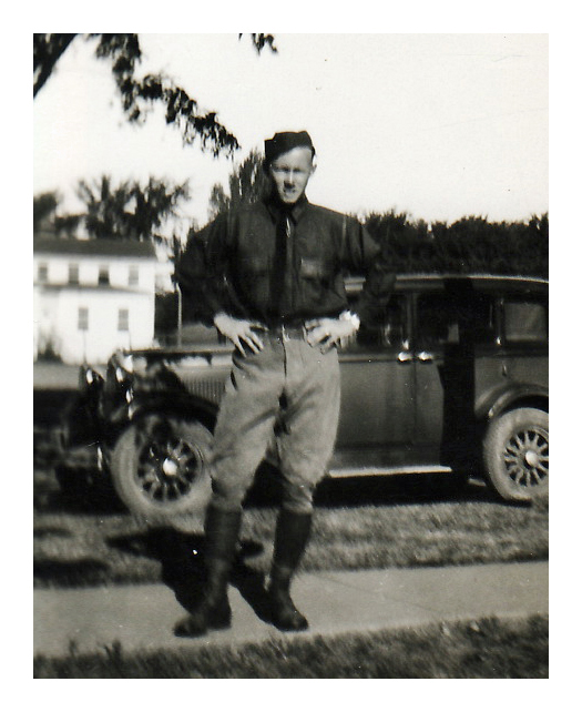 1933 Morris' first day at Citizen's Military Camp in Fort Des Moines, Iowa. Photo taken by his father Ray at 7AM.