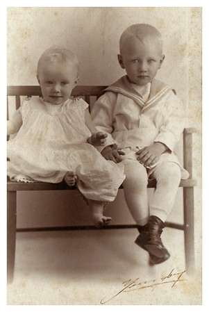 1916 Morris Miller with sister, Marianne.