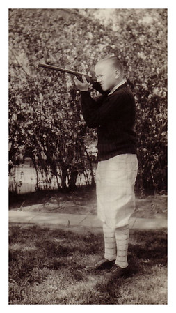 1928 Morris Miller modeling as a sharp shooter. Have no idea what this photo was about.