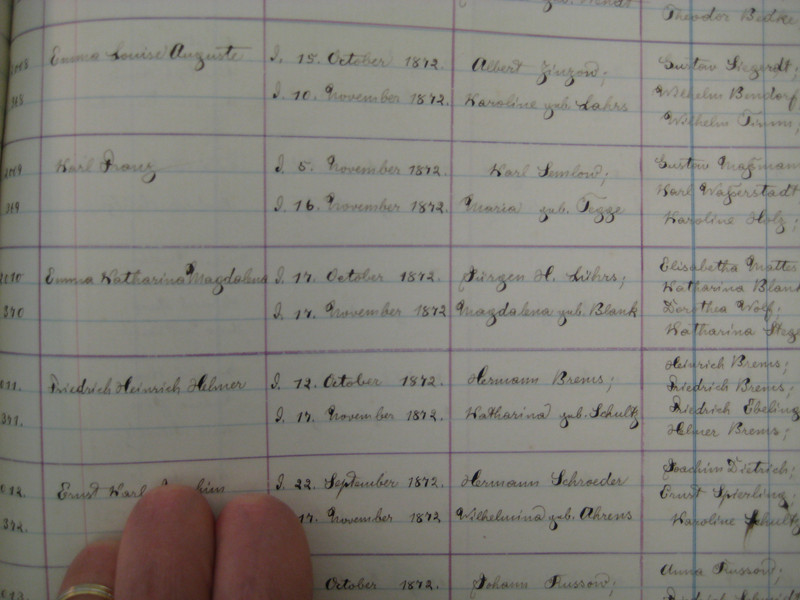 Parish Register for St. John's Lutheran Church, Chicago, Illinois.  A few stray Blanks and Wolfs of unknown relationships.