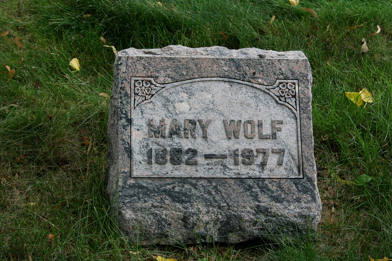 Concordia Cemetery, Forest Park, Cook County, Illinois<br /> MARY WOLF 1882-1977<br /> Maria Auguste Johanna Wolf was daughter of Hans and Johanna Wolf and half-sister to Emilie Wolf Behnke.