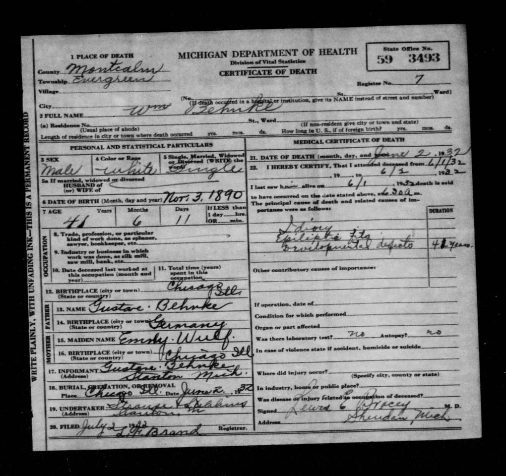 William Behnke (1890-1932) Certificate of Death