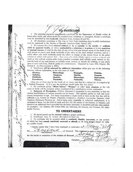 Standard Certificate of Death Sophie Hans Ketz (1859-1923) p. 3