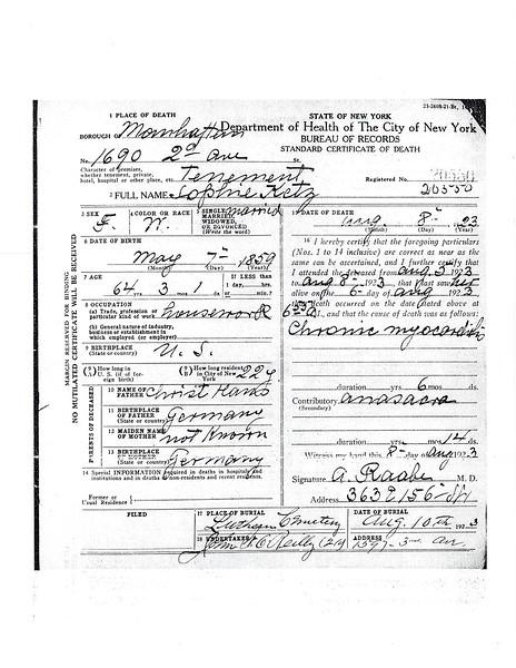 Standard Certificate of Death Sophie Hans Ketz (1859-1923) p. 1