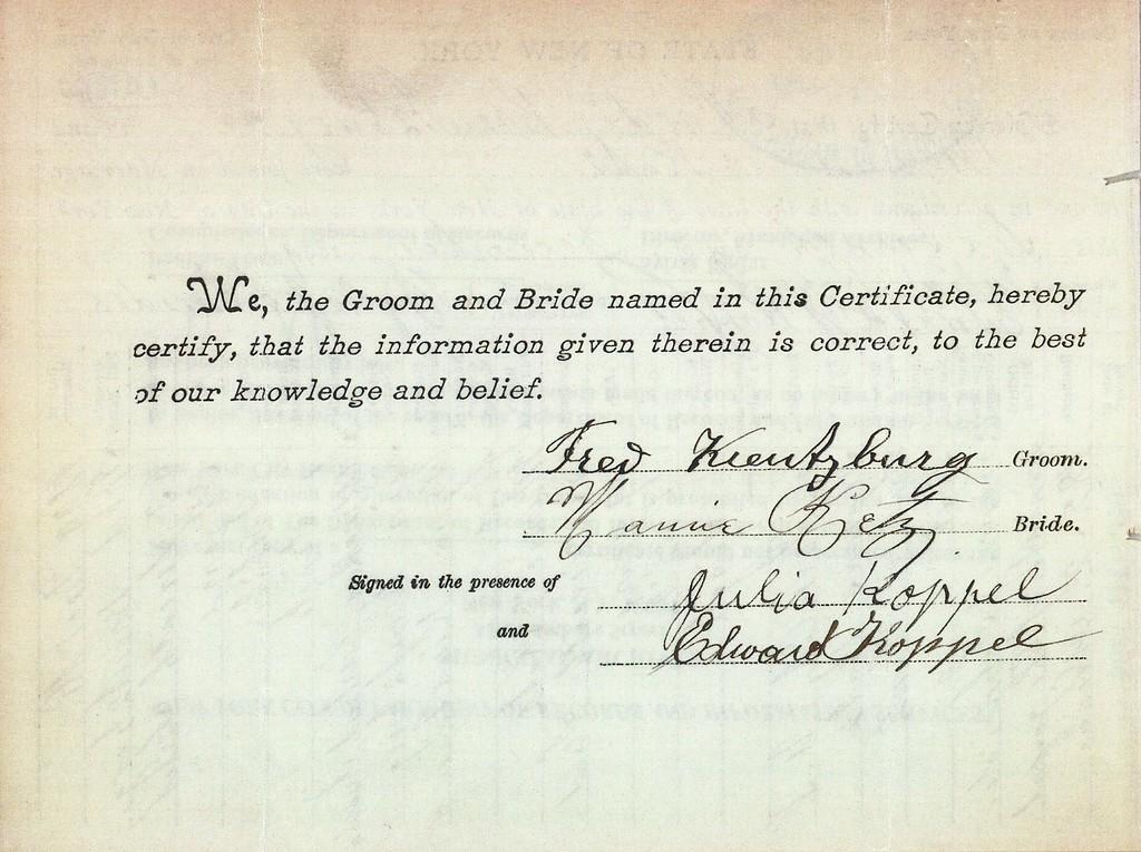 Marriage Certificate - Mamie Ketz (b1880) & Fred Kreutzburg, 16 Dec 1899 p2