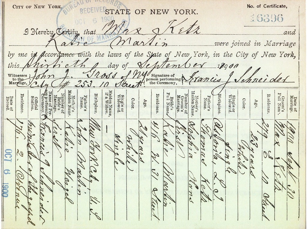 Marriage Certificate - Max Ketz (1878-1968) & Katie Martin, 30 Sep 1900 p1
