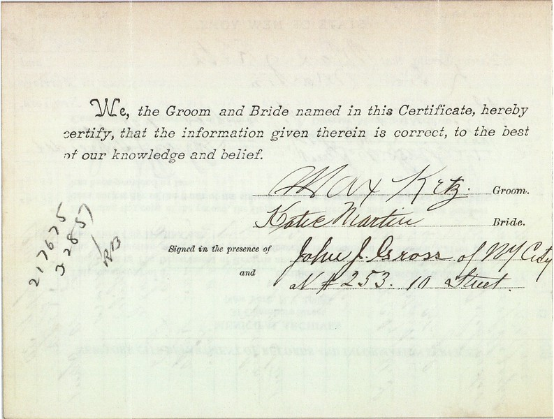 Marriage Certificate - Max Ketz (1878-1968) & Katie Martin, 30 Sep 1900 p2