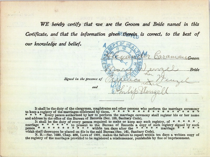 Certificate & Record of Marriage Mary Wenzel (1892-1954) & Alexander Caraman 6 Mar 1911 p2
