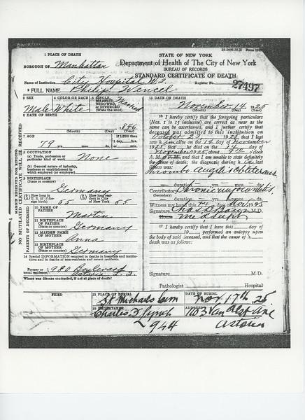 Certificate of Death Philip Wenzel (1846-1925) p1