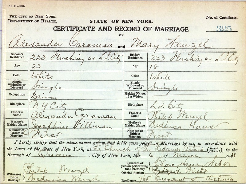 Certificate & Record of Marriage Mary Wenzel (1892-1954) & Alexander Caraman 6 Mar 1911 p1